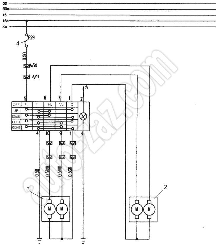Схема подключения наружных зеркал с электроприводом (автомобили с МКП).  1 - регулятор положения наружных зеркал; 2...
